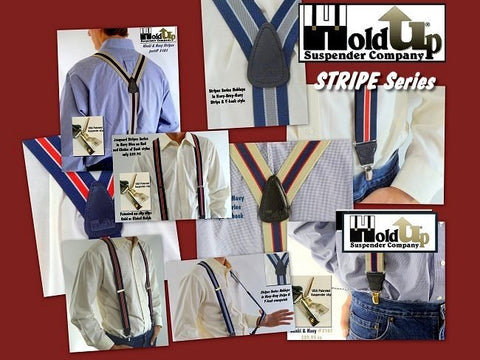 USA made striped Series men's suspenders from Holdup Suspender Company in 7 striped styles