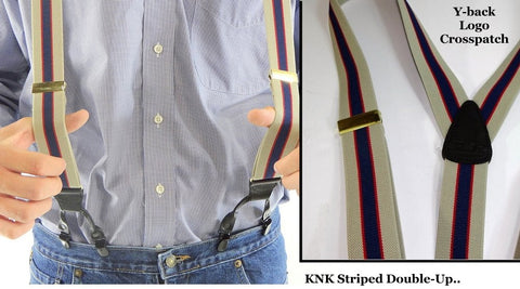 Classic Navy Blue and Khaki Tan stripe Holdup suspenders in Double-Up style