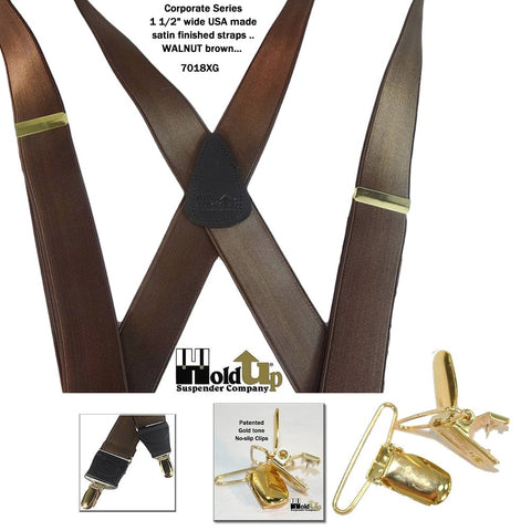 Dark Walnut brown corporate sereis Holdup suspenders in X-back style with Gold tone no-slip clips