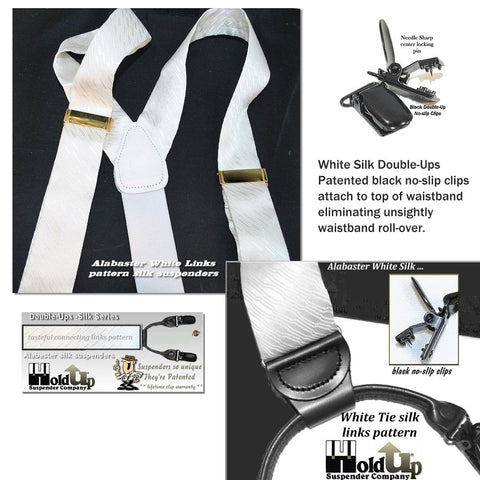 Alabaster White Tie silk Holdup dual clip Double-Ups Style formal suspenders with patented no-slip clips