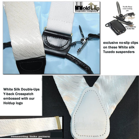 Formal white solid dual clip Double-Up style Tuxedo Holdup suspenders