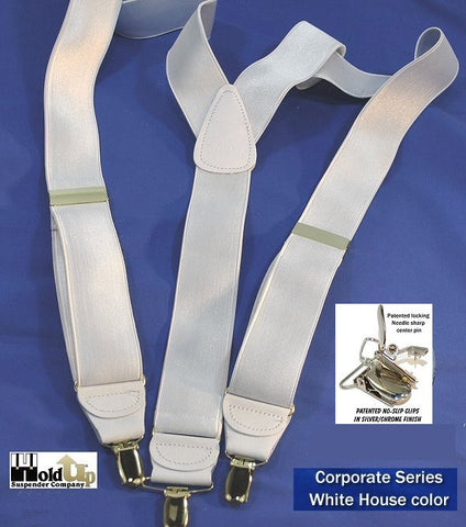 Corporate Seriers satin finished all white Holdup suspenders with Y-back crosspatch and silver chrome clip options