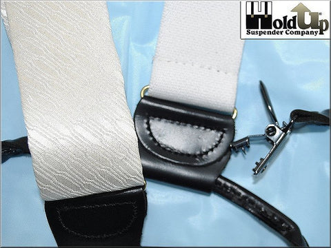 Holdup Brand White Silk pattern formal Suspenders in Dual Clip Double-Up style with patented no-slip clips