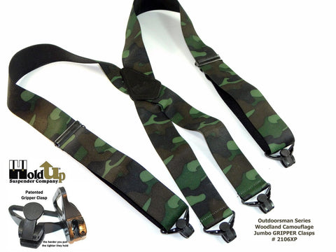 "Hold-Ups Woodland Camoflauge 2"" Hold-Up Suspenders, Patented Plastic Gripper Clasp"