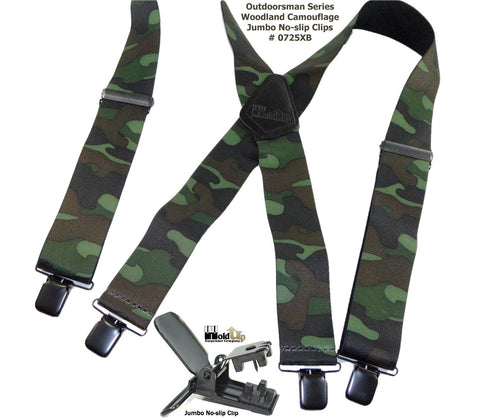 Holdup Suspenders wide Woodland pattern camouflauge hunting type suspenders with patented jumbo no-slip clips