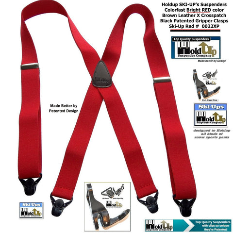 "Hold-Ups Red Snow Ski Suspenders, Patented Gripper Clasps X-Back 1 1/2"" wide"