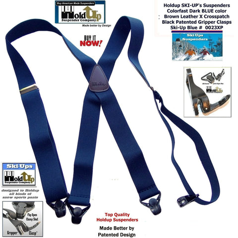 "Dark Blue Holdup Brand Snow Ski Suspenders with Patented black Gripper Clasps 1 1/2"" wide X-back style"