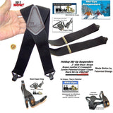 HoldUp Brand Specialty Series Black X-Back Suspenders With Jumbo Black Gripper Clasp