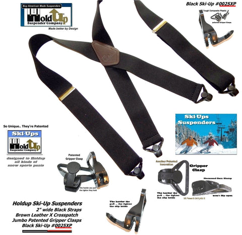 Holdup Brand 2 inch wide Black X-Back Ski-Up Suspenders With Jumbo Black Gripper Clasps