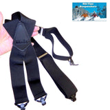 "Holdup Brand XL Black Snow Ski Ups Suspenders 2"" wide with a Patented Jumbo Gripper Clasps X-back"