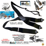Holdup XL All Black Ski Ups X-back HD Suspenders with Patented Jumbo Gripper Clasps