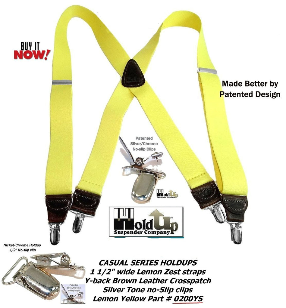"Hold-Ups Yellow 1 1/2"" wide Suspenders X-Back Patented No-slip patented Silver Clips"