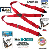 "Holdup Brand 42"" Teen Red X-back Suspenders 1 1/4"" wide with Patented Gripper Clasps"