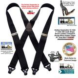 "Holdup Brand Black Youth sized 36"" long X-back Suspenders with Patented Gripper Clasps"