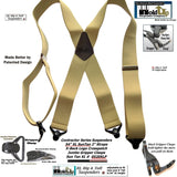 Holdup Suspender Company's Extra Long XL Light Tan Suspenders are 2 inches wide with black Jumbo Gripper Clasps