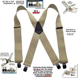 Holdup Brand Extra Long XL Sun Tan Suspenders with Jumbo Patented No-slip Center Pin Clips