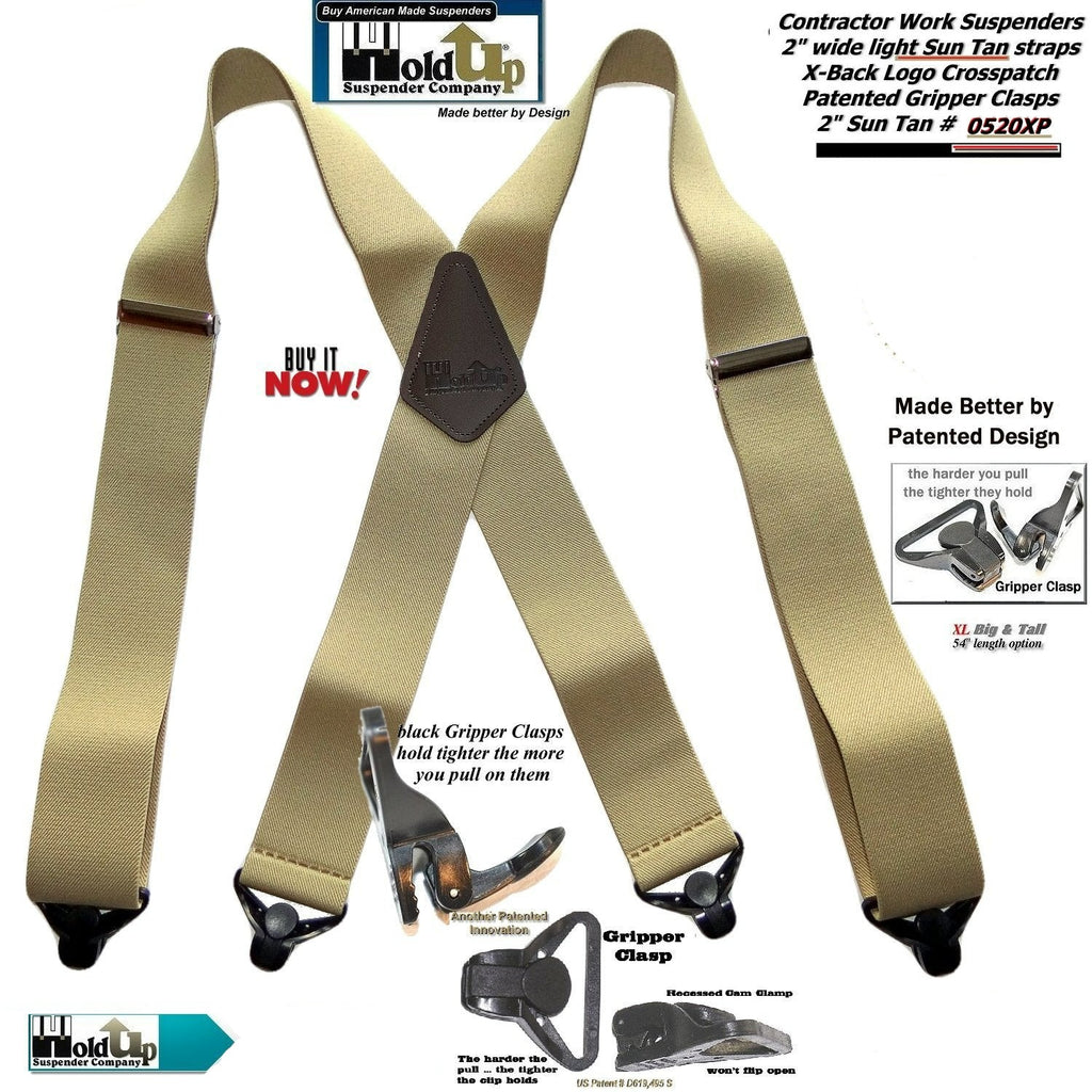 "HoldUp Brand USA made 2"" Wide Heavy Duty Tan Color Suspenders with black patented black Gripper Clasps"