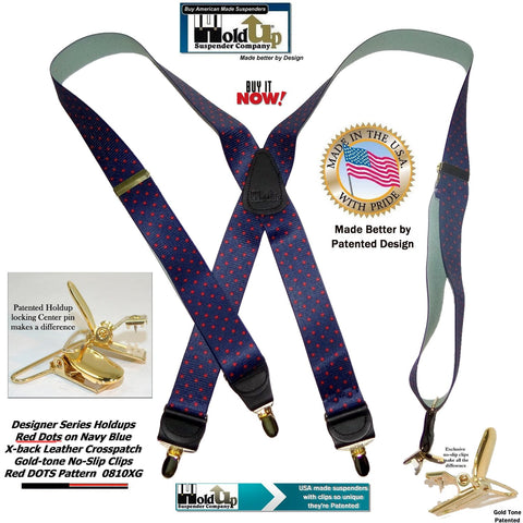 Holdup Brand Dark Blue with Red Dot Pattern X-back Suspenders Patented No-slip Clips