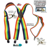 Holdup Rainbow of Colors wide work X-back Suspenders with Patented jumbo no-slip clips