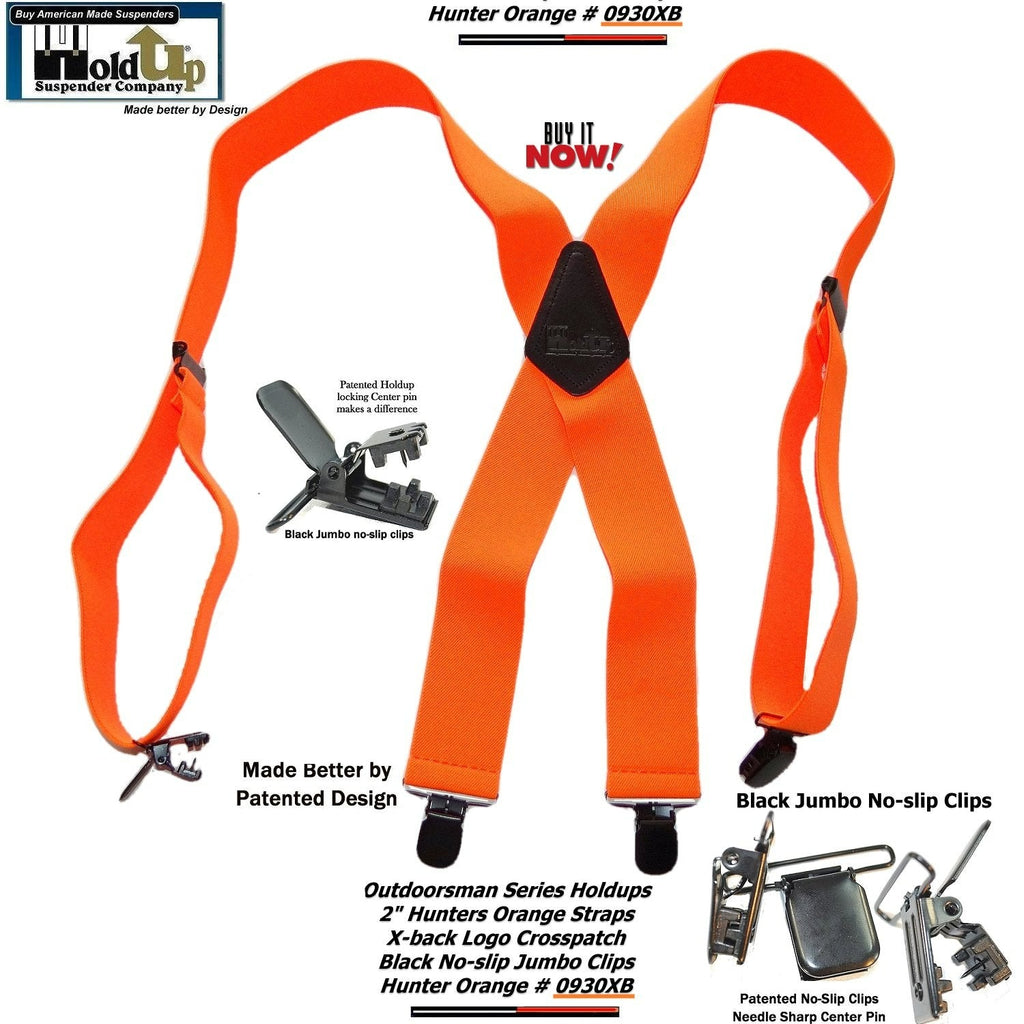"Holdup Suspender Company's Hunter Orange 2"" wide Outdoorsman Suspenders in X back style with Jumbo No-slip Clips"