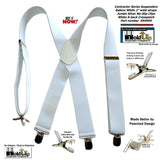 "Holdup Suspender Contractor Series Bakers White 2"" Wide X-back Suspenders with silver jumbo no-slip clips"