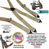 HoldUp Big and Tall XL No-buzz Airport Friendly TAN Suspenders with Patented Gripper Clasps