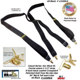 HoldUp Brand XL Big and Tall All Black X-back Suspenders with Gold tone patented No-slip Clips