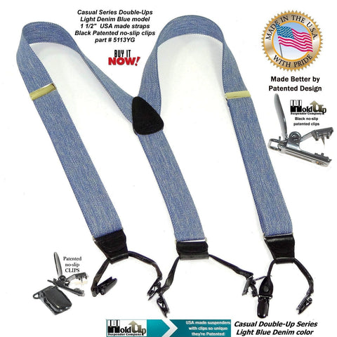 Holdup Brand USA made Double-Ups Style Men's Suspenders in a light Blue Denim Color and Y-Back crosspatch