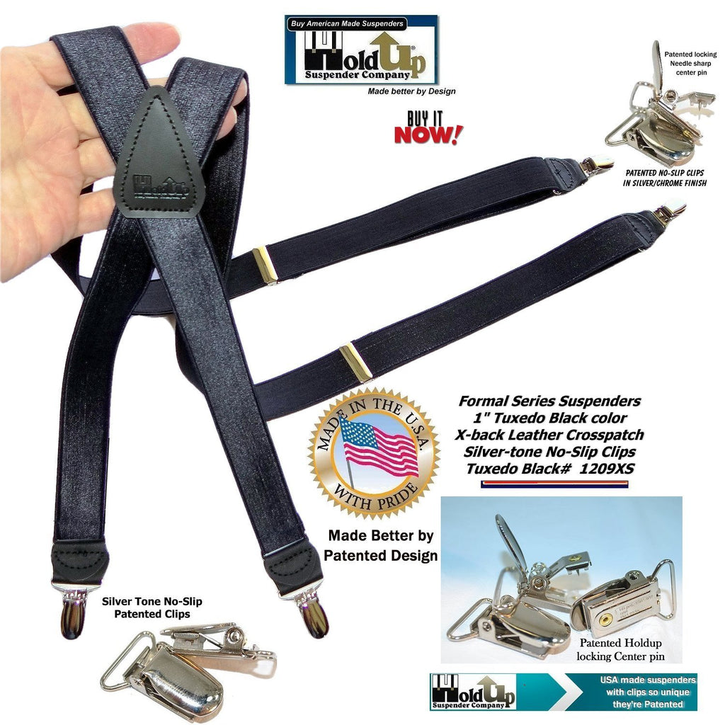 "Hold-Ups Tuxedo Black Formal Satin finish  Suspenders X-back, Patented No-slip Silver Clips in 1"" Width"