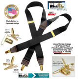 "Holdup Brand Black Pack color Casual Series black 1 1/2"" wide Y-back Suspenders with Patented gold tone no-slip  Clips"