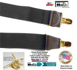 Holdup Brand Black Pack color Casual Series Y-back Suspenders with patented no-slip  Clips