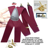 Holdup Suspender Company Merlot Burgundy Colored Men's Suspenders In X-Back Style With No Slip Gold-tone clips
