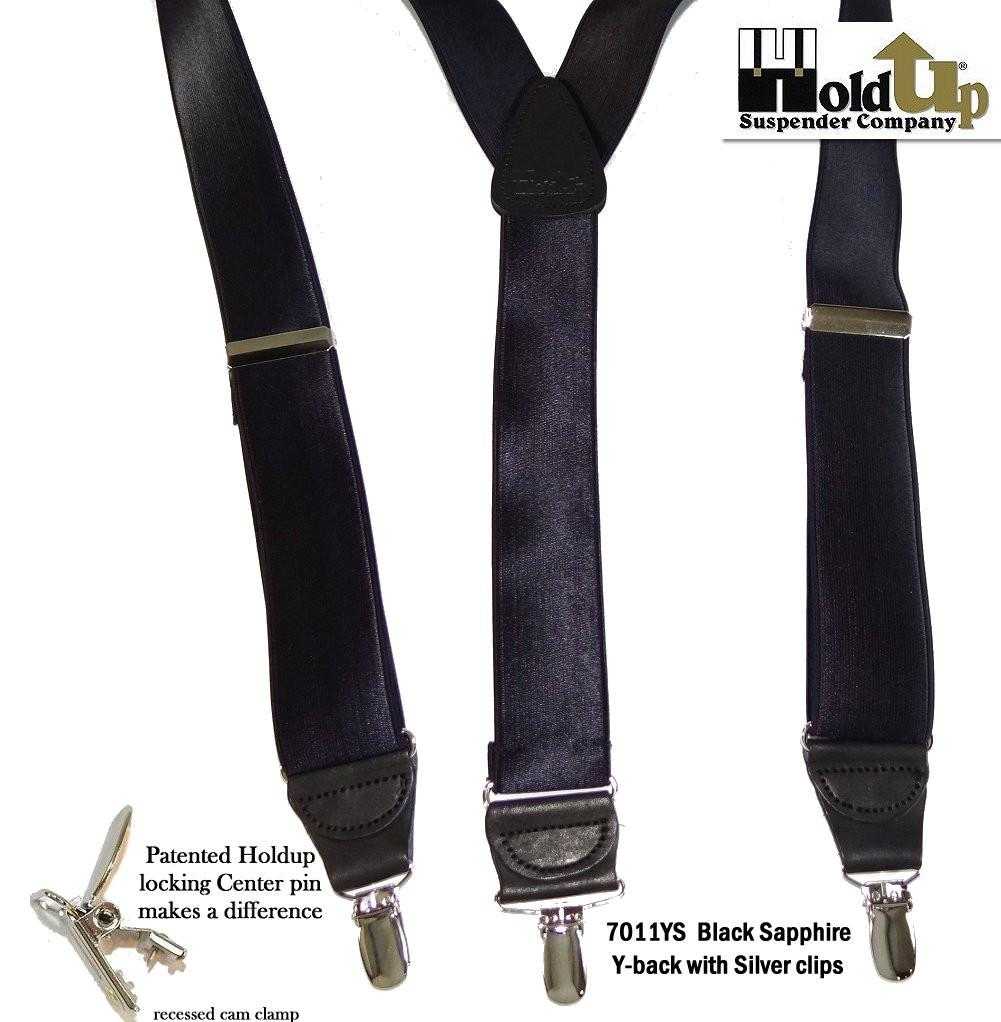 "Hold-Ups Black Sapphire 1 1/2"" Satin Finish Suspenders Y-Back No-slip Silver Clips"