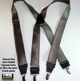 "Hold-Ups Charcoal Grey 1-1/2"" Wide Suspenders X-back with Silver-tone no-slip Clips"