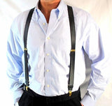 "Holdup Brand Pewter Grey Satin Finished Formal Series 1"" wide Suspenders X-back Gold clips"