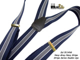 Hold-Ups Navy Blue with Gray and White Stripe Double-up Suspenders with Black No-slip Clips