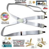 Holdup All White American made Casual Series X-back Suspenders with Patented No-slip Gold-tone clips