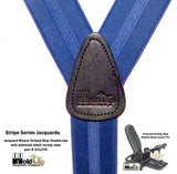 "Hold-Ups Blue Stripe Jacquard Dual Clip Double-ups style 1 1/2"" Patented No-slip Metal Clips"