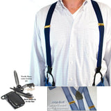 Holdup Indigo Blue on Blue Dual-clip Jacquard Striped Double-Up Style Suspenders
