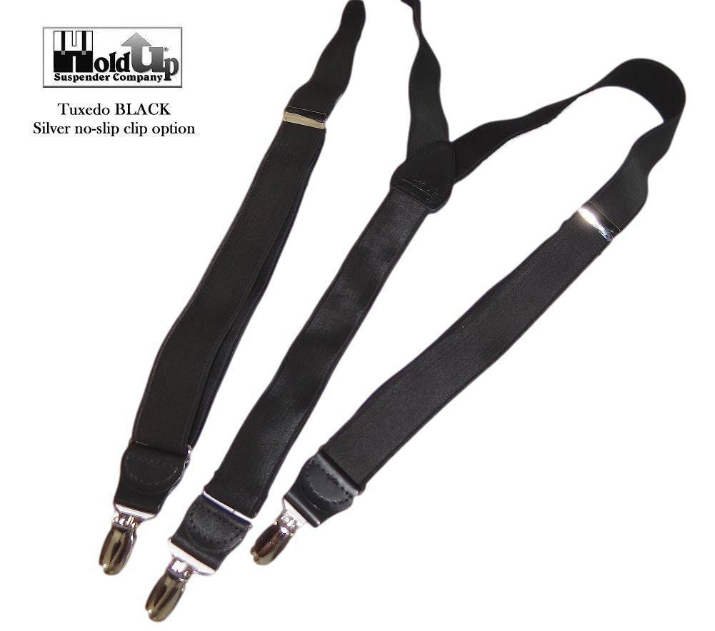 "Hold-Ups Tuxedo Black 1"" Wide Formal Suspenders in Y-back with Parented No-Slip Nickel Clips"