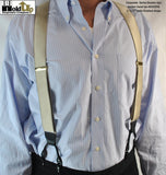 "HoldUp Suspender Brand 1 1/2"" Wide Double-up style Y-back Suspenders in Satin Finish Golden Sand Color"