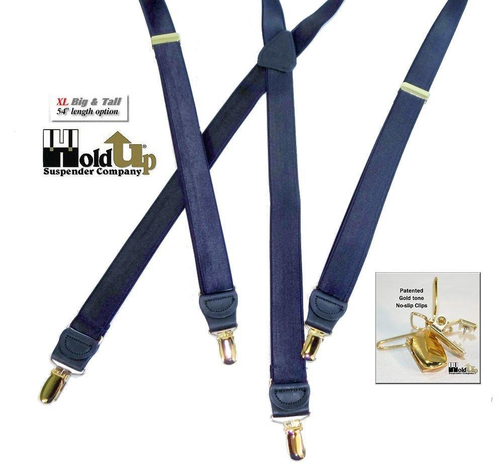 "Hold-Ups 1"" Wide Satin Blue XL length Suspenders X-back with Gold No-slip Patented Clips"