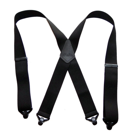 X-back Holdup Shadow Black Suspenders in 2 inch width with jumbo Patented Gripper Clasps
