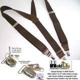 Hold-Ups dark Java Brown Suspenders Y-back style  w/ Patented Silver No-slip Clips
