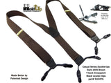 Hold-Ups Dark Brown Java Colored Casual Series Dual-Clip Suspenders With Y-Back leather crosspatch
