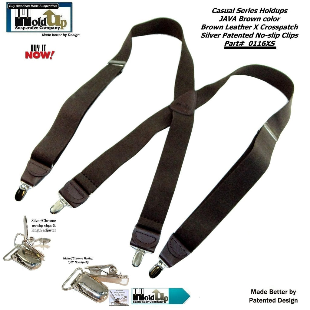 Holdup Suspender Company's Dark Java Brown Casual Series X-back Suspenders with Patented No-slip Nickel plated Clips