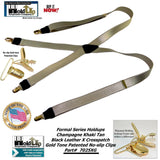 "Holdup Golden Champagne Tan 1"" wide Formal Series satin finished X-back Suspenders with Gold-tone no-slip Clips"