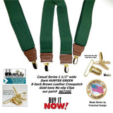 Holdup Brand Hunter Green Men's Clip-On Suspenders with X-Back Style and Gold No-slip Clips
