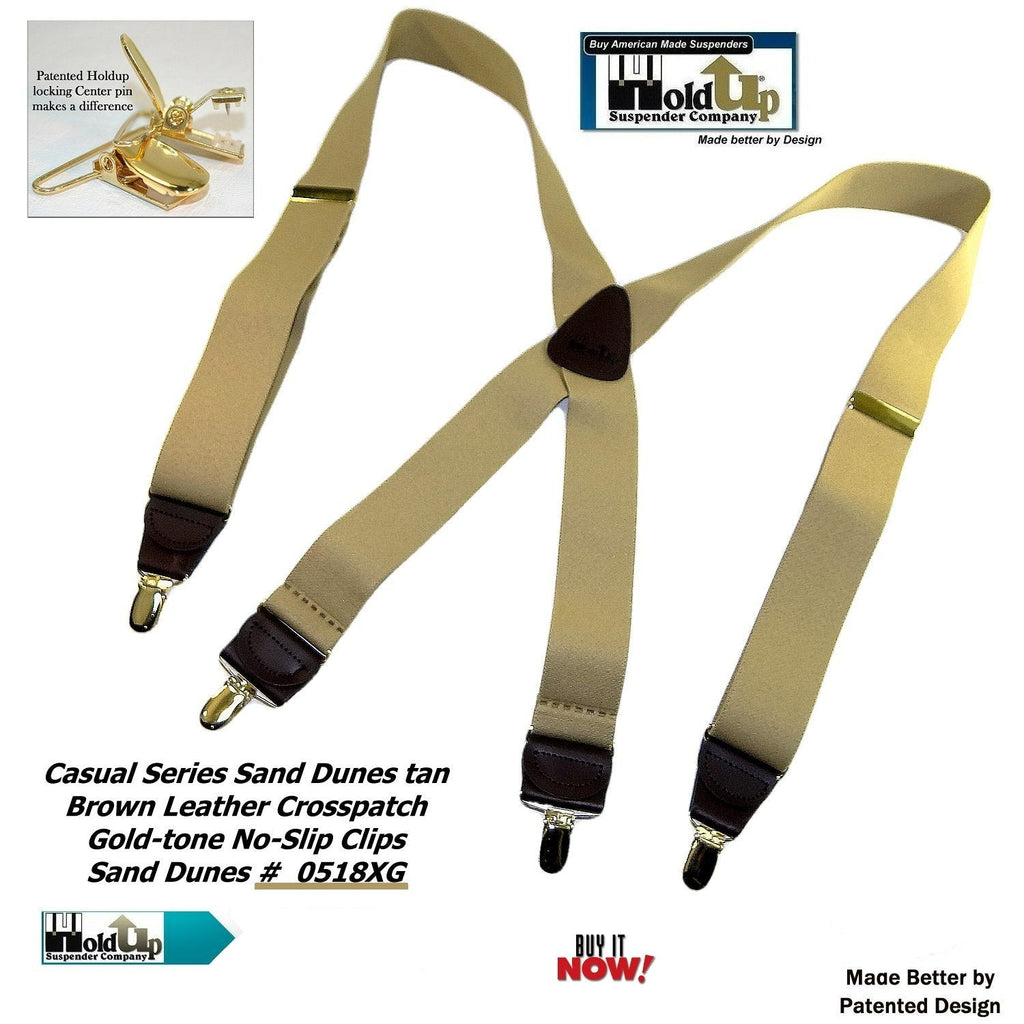 "HoldUp Casual Series Sand Dunes Tan 1 1/2"" wide Suspenders in X-back with Patented No-slip Gold-tone Clips"