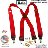 Holdup's Fire Engine Red Casual Series Suspenders in X-back Style with Patented No-slip Gold Clips